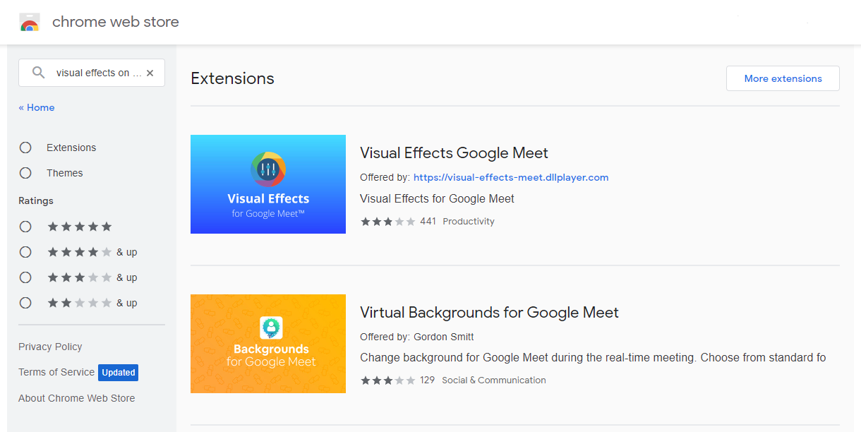 visual effects for google meet chrome extensions