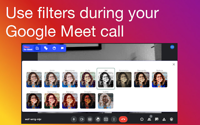 filters for visual effects during your Google Meet call